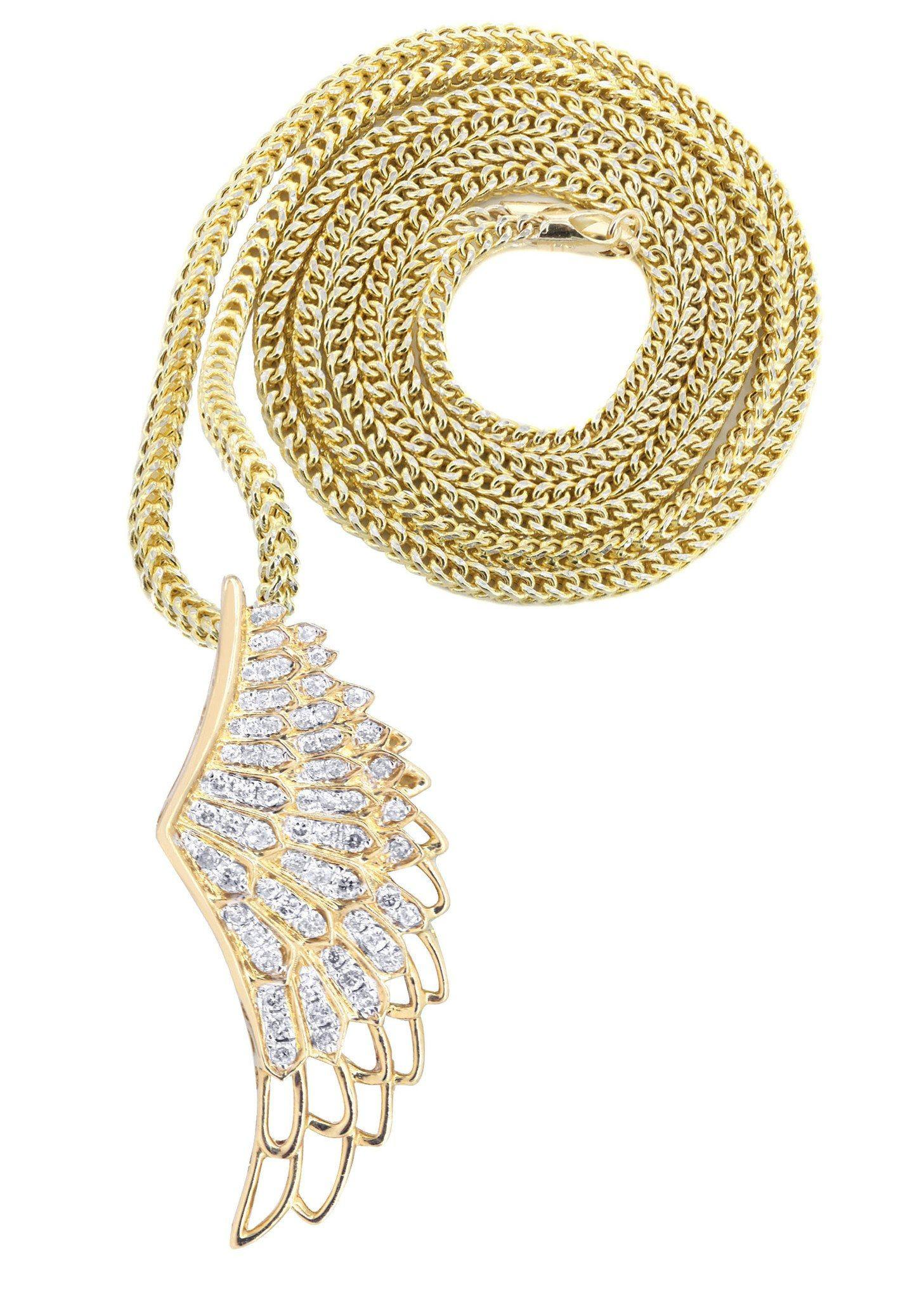 #FrostNYC Jewelry - FROST NYC 10K Yellow Gold Angel Wing Diamond Pendant &  Franco Chain / 0 82 Carats - AdoreWe com