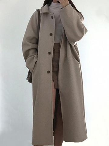 All-match plus size woolen coat solid color women's coat