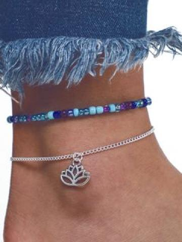 Alloy Lotus Anklet 6975a - One Size