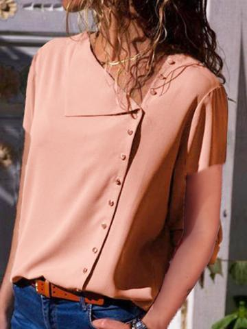 Asymmetric Neck  Single Breasted  Plain Blouses