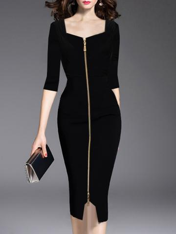 Asymmetric Neck  Slit Zips  Plain  Bodycon Dress