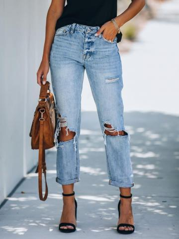 Autumn and winter all-match ripped washed jeans