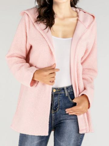 Autumn and winter new hooded cardigan shirt coat