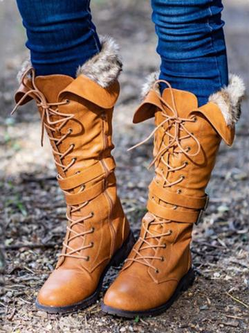 Autumn and winter thick snow boots with high boots