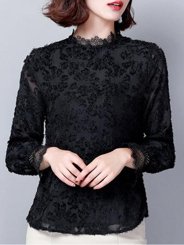 Band Collar Elegant Lace Long Sleeve Blouse