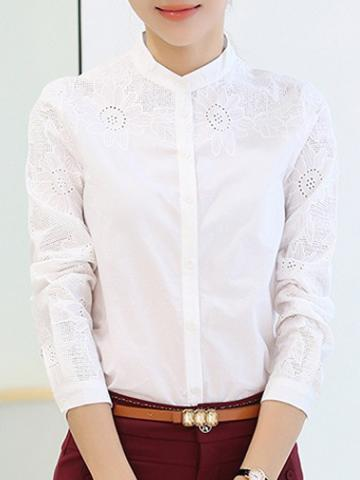 Band Collar Elegant Long Sleeve Blouse
