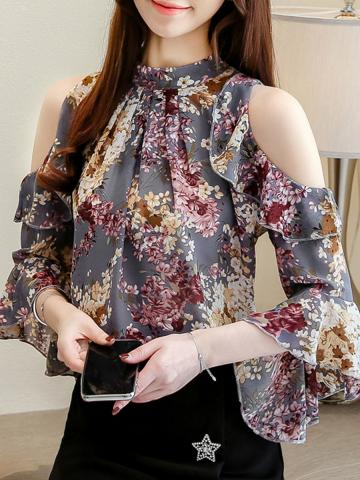Band Collar Floral Bell Sleeve Blouse