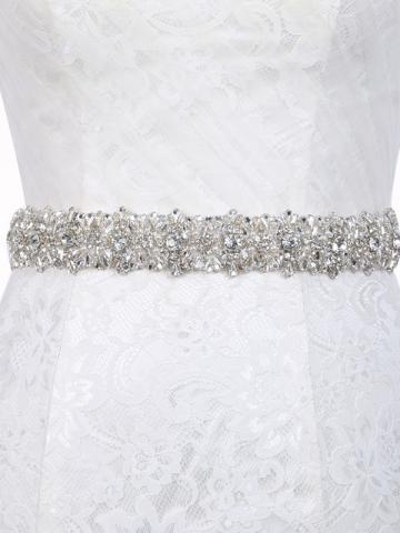 Beaded Regular(2-4cm) Polyester Mosaic Bridal Belt 2019