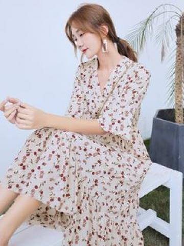 Bell-Sleeve Floral Printed Drawstring Waist Dress