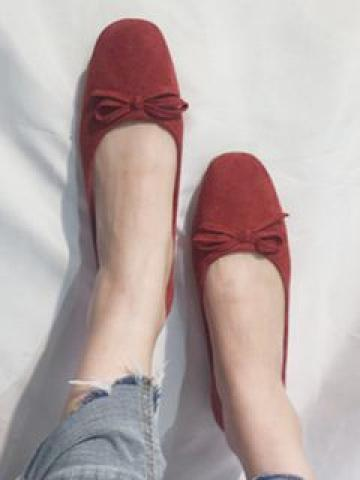 Bow-accent Flannel Flats