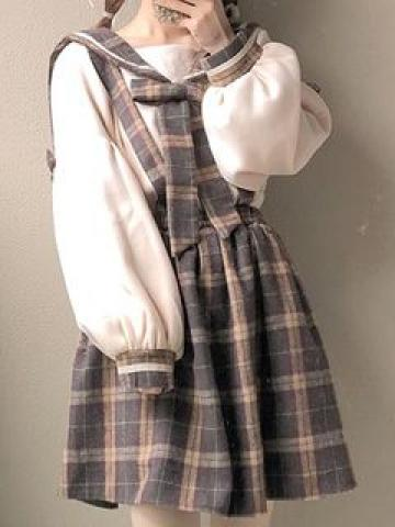 Bow Accent Puff-Sleeve Pullover / Plaid Suspender Skirt / Suspender Pants