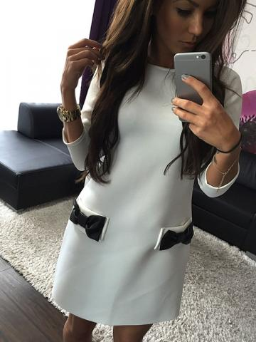Bowknot Round Neck Pocket Summer Womens Long Sleeve Dress