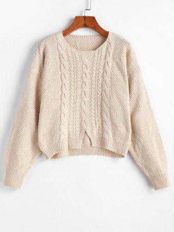 Cable Knit Front Slit Sweater