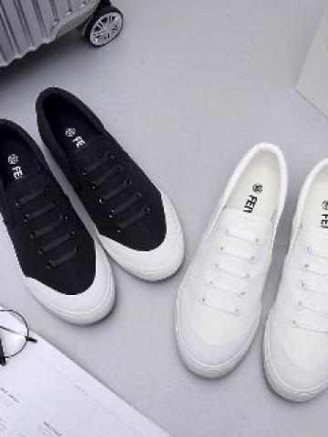 Canvas Panel Slip-On Sneakers