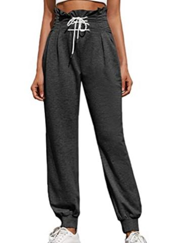 Casual high waist black lace-up track pants