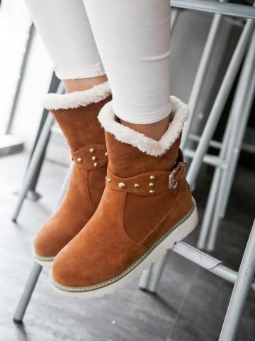 Casual ladies belt buckle flat snow boots