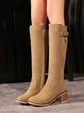 Casual ladies pure color side zipper thick heel high boots