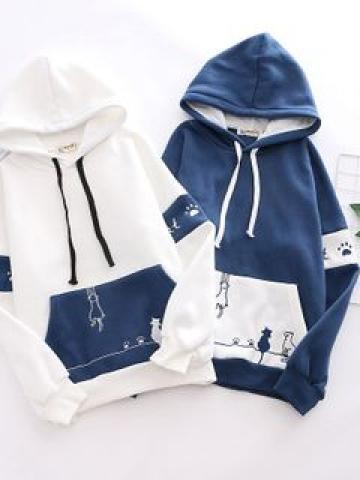 Cat Embroidered Two-Tone Hoodie