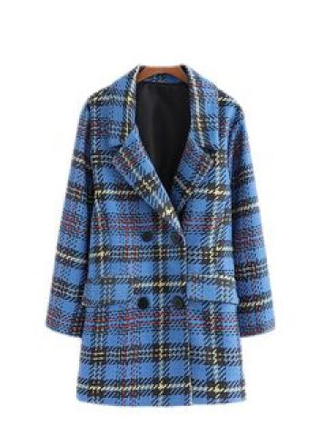 Check Double-Button Coat