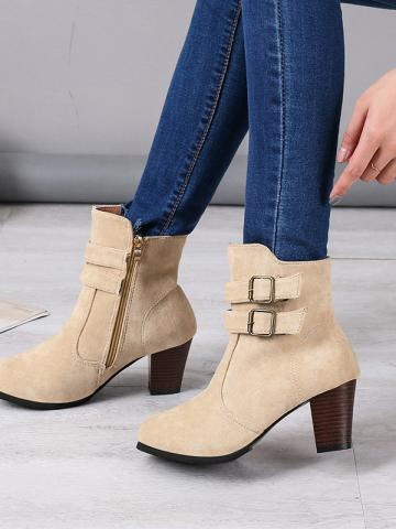 Classic ladies pointed belt buckle suede ankle boots