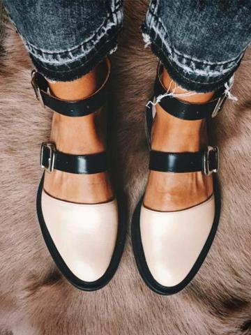 Color Block  Flat  Ankle Strap  Point Toe  Date Travel Comfort Flats
