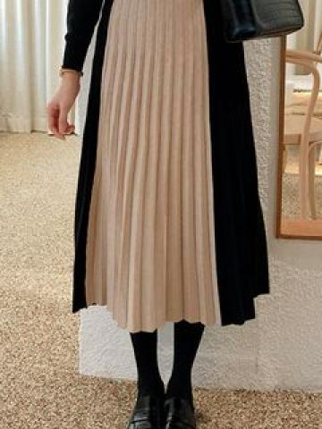 Color-Block Pleated Skirt