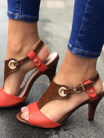 Color Block  Stiletto  Flat  Peep Toe  Date Travel Sandals