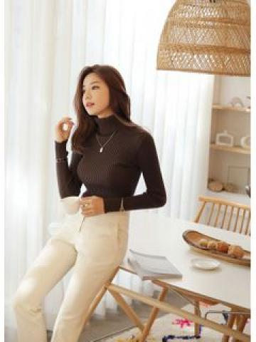 Colored Turtle-Neck Rib-Knit Top