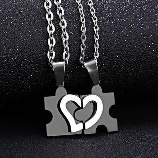 d9146cd95b Creole Couple Matching Heart Puzzle Pendant Stainless Steel Necklace ...