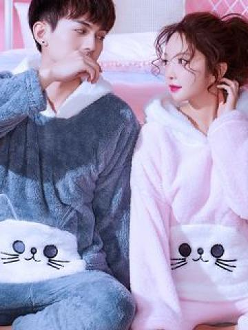 Couple Matching Pajama Set: Fleece Long-Sleeve Top + Pants (Various Designs)