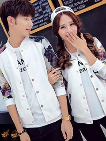 Couple Matching Print-Panel Bomber Jacket