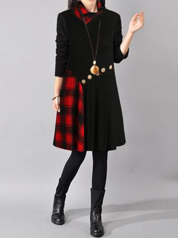 Cowl Neck  Plaid Shift Dress