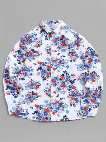 Disty Print Button Long Sleeve Shirt