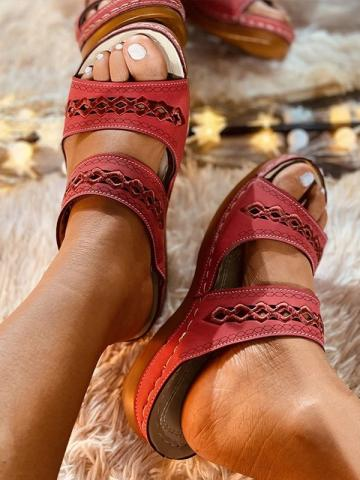 Embroidery Hollow Out  Peep Toe Sandals