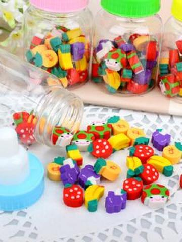 Erasers with Milk Bottle Container