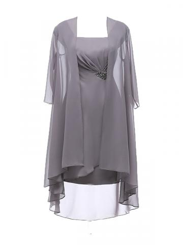 Ericdress Chiffon Knee Length Plus Size Mother of the Bride Dress with Jacket