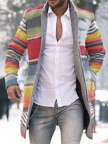 Ericdress Color Block Mid-Length Button Single-Breasted Mens Coat