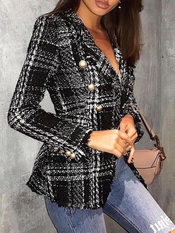 Ericdress Fashion Plaid Standard Casual Blazer