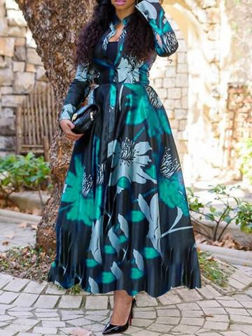 Ericdress Long Sleeve Stand Collar Print Expansion Regular Dress