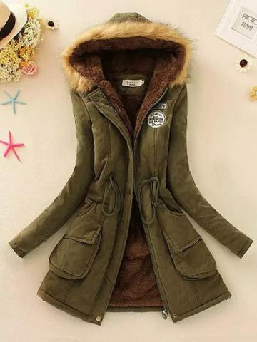 Ericdress Loose Patchwork Mid-Length Cotton Padded Fashion Womens Jacket