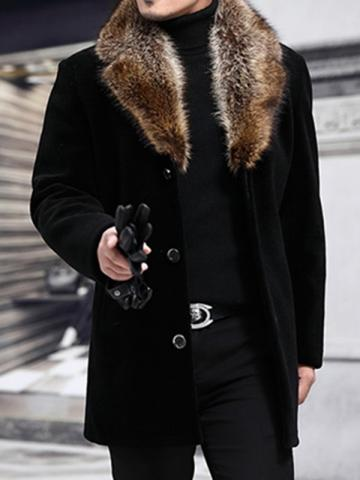 Ericdress Mid-Length Patchwork Notched Lapel Fall Mens Slim Coat