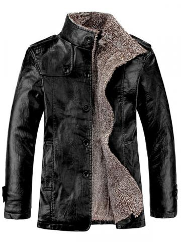 Ericdress Plain Standard Stand Collar Mens Slim Leather Jacket