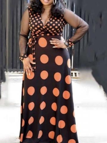 Ericdress Plus Size Polka Dots V-Neck Patchwork Floor-Length A-Line Maxi Dress