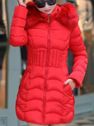 Ericdress Plus Size Thick Zipper Slim Mid-Length Cotton Padded Womens Jacket