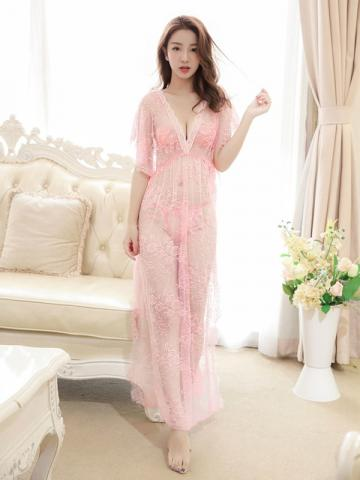 Ericdress Sexy Slit Up Long Mesh Plus Size Babydoll with G-string