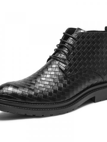Ericdress Side Zipper Plaid Pointed Toe Mens Boots