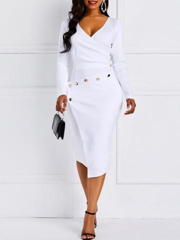 Ericdress V-Neck Pleated Asymmetric Hem Office Lady Bodycon Dress