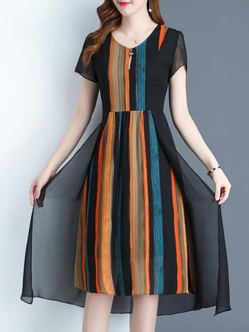 Fashion Color-Block Maxi Dress