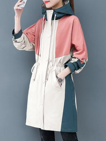 Fashion Colorblock Hooded Trench Coat