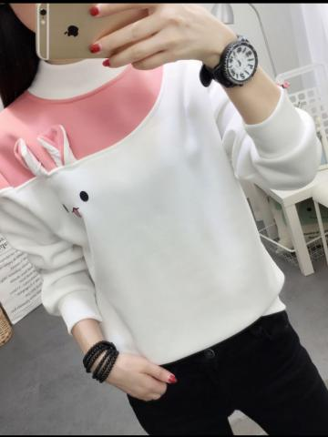 Fashion Colorblock Stand Collar Sweater